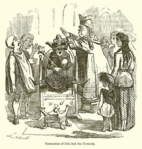 "Drawing of a man on a throne, with legs outstretched in surprise, and a crown being jammed onto his head. Caption: ""Coronation of Ethelred the Unready."""