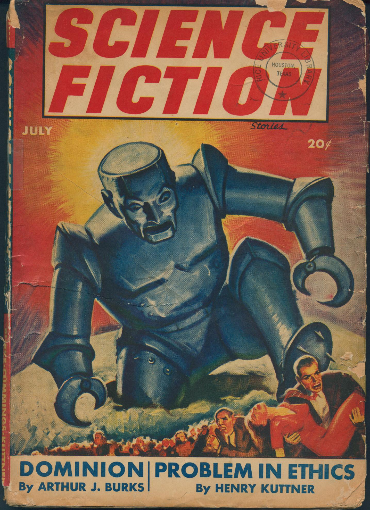Cover of Science Fiction, vol 3 no 5, showing a giant robot stomping its way through a crowd of fleeing humans.