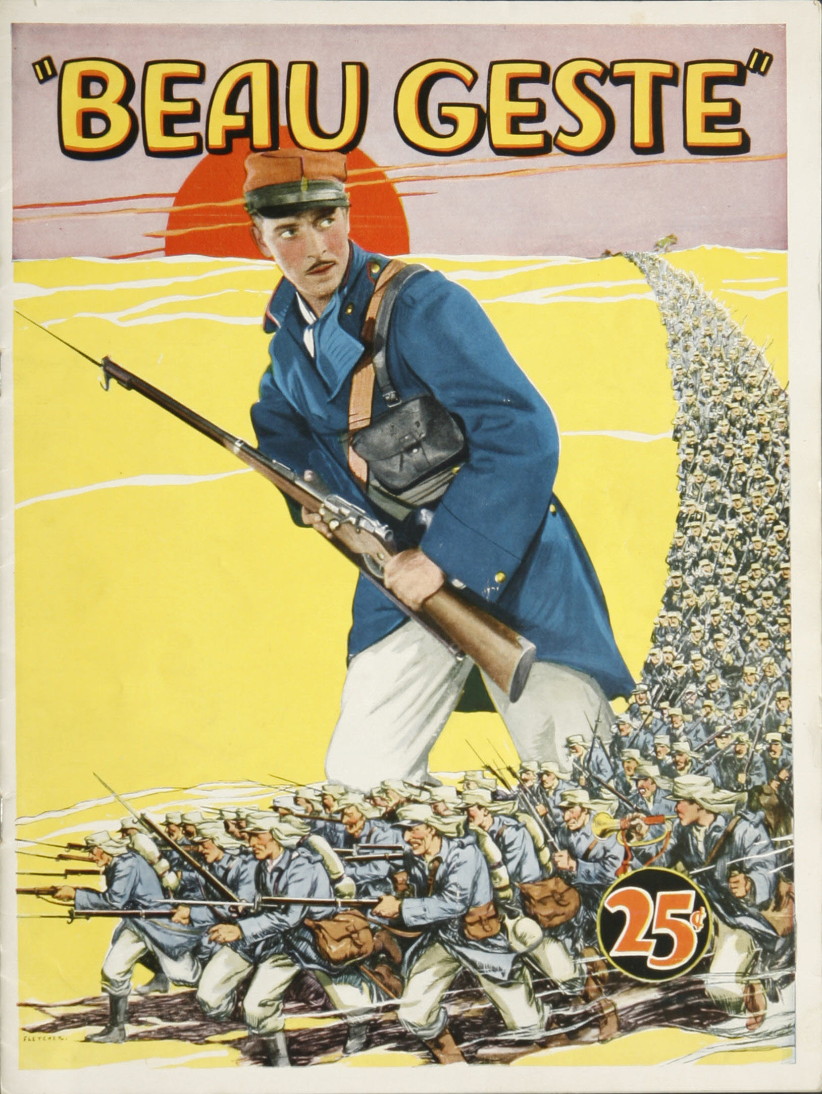 1926 movie program for Beau Geste shows a man in a French Foreign Legion uniform, holding a rifle, in a desert setting.