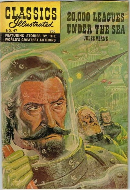 "A 1948 issue of Classics Illustrated shows the character Captain Nemo, from Jules Verne's ""20,000 Leagues Under the Sea"""