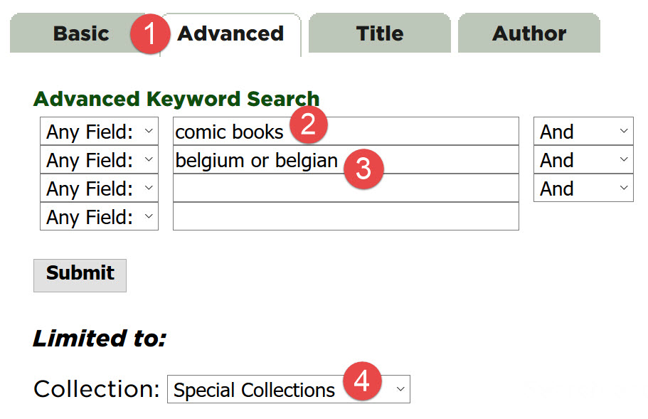 "Detail of advanced search screen showing the phrase ""comic books"" in the first search field, ""belgium or belgian"" in the second search field, and Limited to Collection changed to Special Collections"