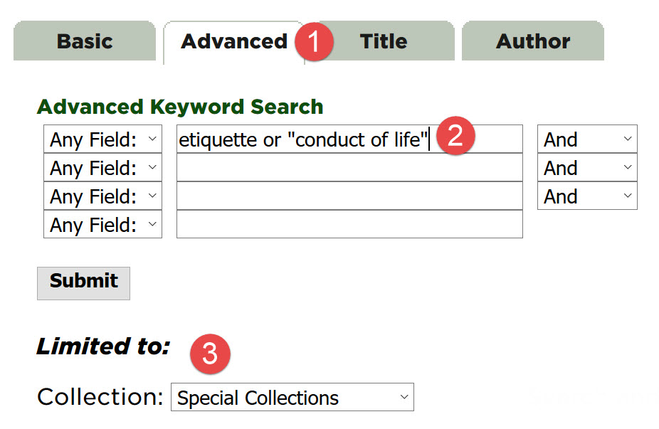 "Screen capture from an Advanced Search for the terms ""etiquette"" OR ""conduct of life"" with results limited to Special Collections"
