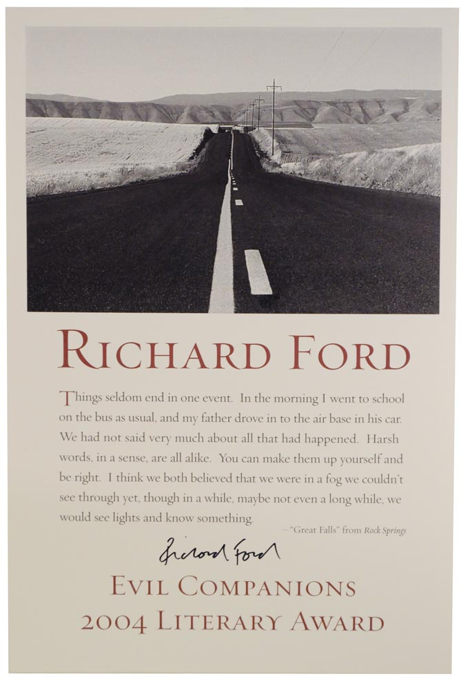 Broadside featuring an image of a highway and a quote from Richard Ford's book Rock Springs