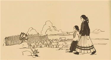 Illustration from The Little Herder, of Navajo mother and child walking outside