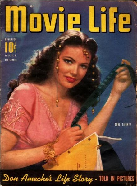 November, 1941 issue of Movie Life magazine has a portrait of actress Gene Tierney costumed as a gypsy and holding a script on her lap.