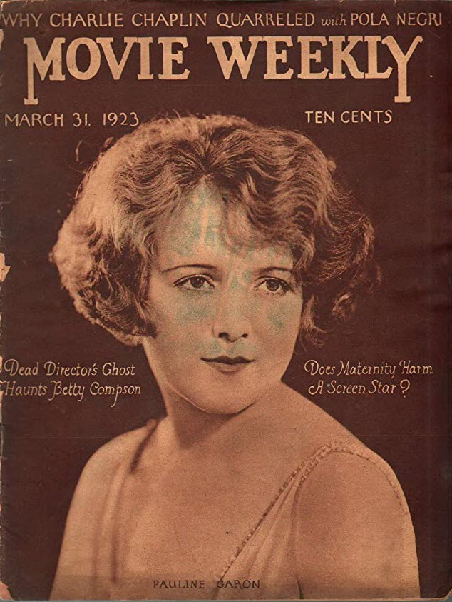 Movie Weekly magazine for March 31, 1923 is in sepia brown tones, featuring the portrait of actress Pauline Garon.
