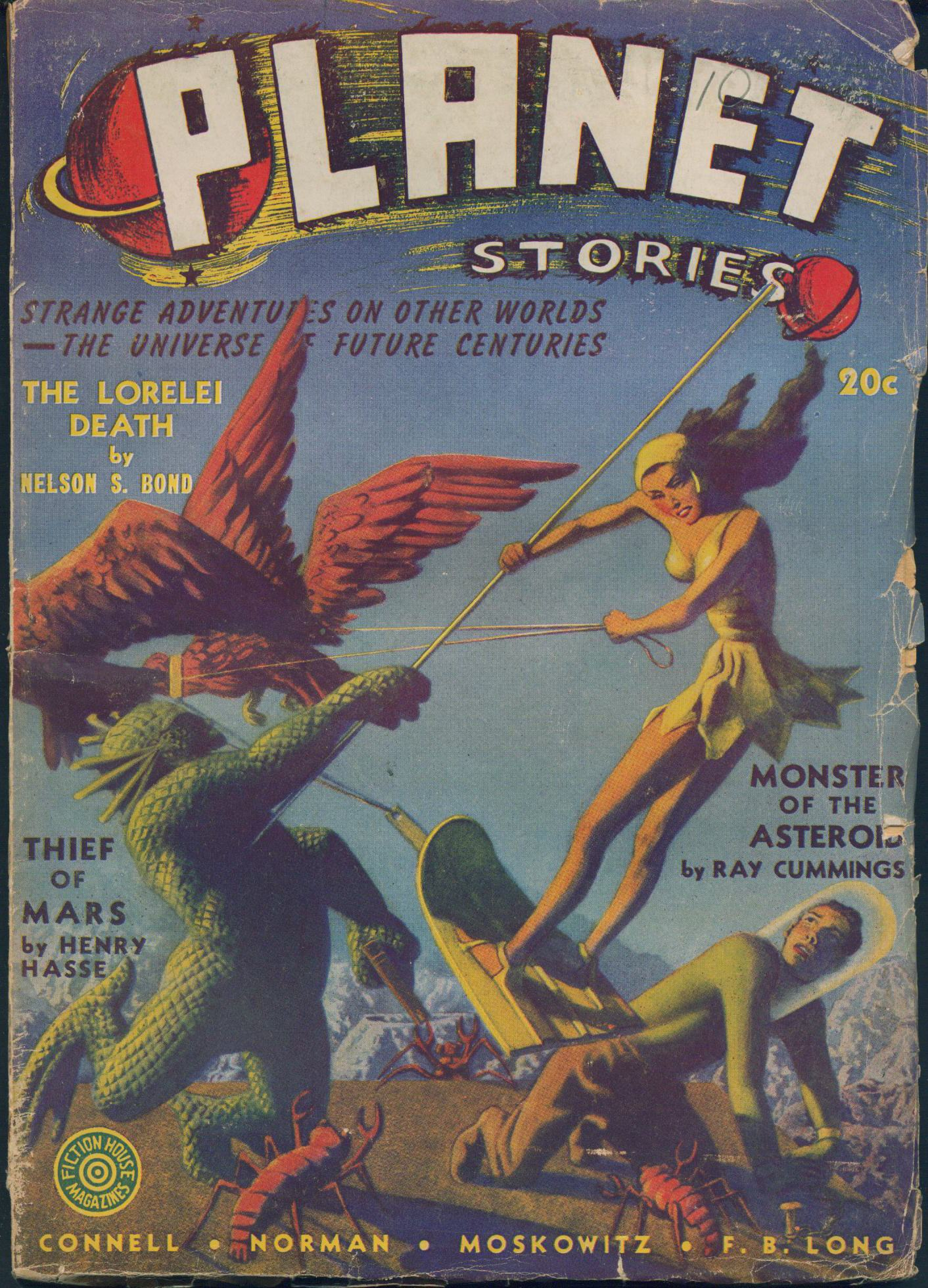 Cover of Planet Stories, vol 1 no 9, shows a woman fighting off several alien creatures, including one resembling a bird and another with green scales.