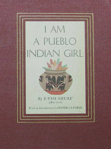 Detail from the cover of I Am a Pueblo Indian Girl, showing a Pueblo style clay pot along with the title and author's name.