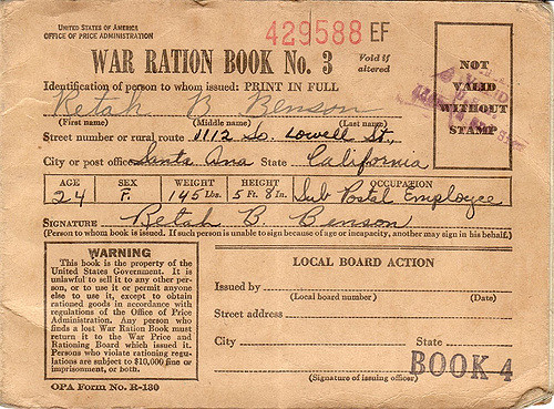 Image of an American ration book from World War II