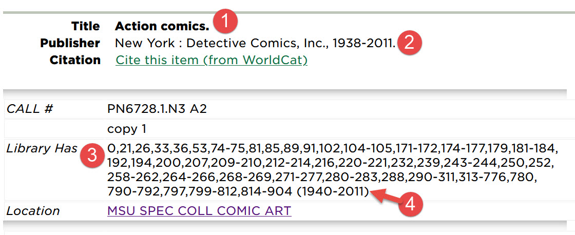 Screenshot of library catalog highlighting: title of comic book, dates of publication, issues owned by MSU, and date span of issued owned by MSU.