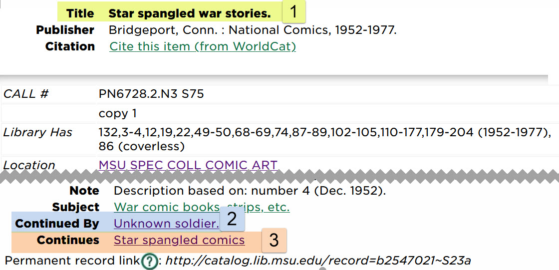 Screenshot showing portion of a catalog record, with highlights identifying the title field, the CONTINUES field (that is, the previous title of the periodical) and the CONTINUED BY field (that is, the title this periodical was later changed to)