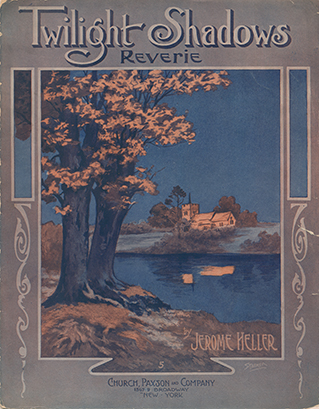 "Sheet music for ""Twilight Shadows Reverie."" The cover illustration is an evening scene, showing trees and a river in the foreground and a  quiet country home in the distance."