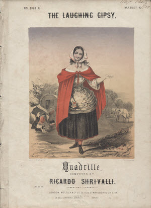 "Sheet music for ""The Laughing Gypsy"" shows a smiling woman in an old-fashioned dress and red cloak, holding a small basket."