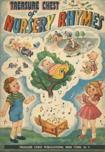 Cover of The Treasure Chest of Nursery Rhymes shows two small children watching a treasure chest burst open with imaginary toys and games.