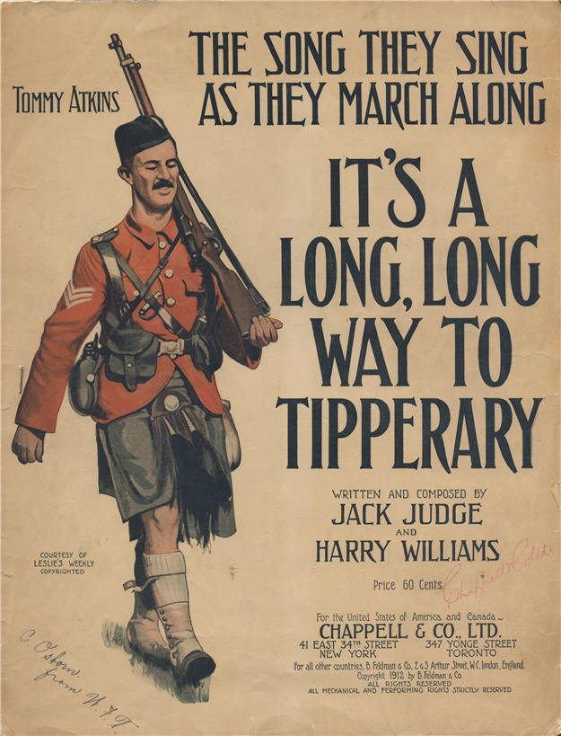 "Sheet music for ""It's a Long, Long Way to Tipperary"" shows an Irish regimental soldier marching with a rifle on his shoulder."