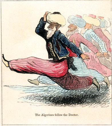 "A dark-skinned man in a turban, blue jacket, and red sirwal (baggy trousers, a garment worn in some Mediterranean and North African cultures) is shown running. Caption: ""The Algerians follow the Doctor."""