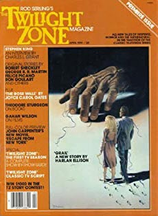 The premiere issue of Rod Serling's Twilight Zone magazine shows a man and woman gazing at a human hand large enough to enclose them both.