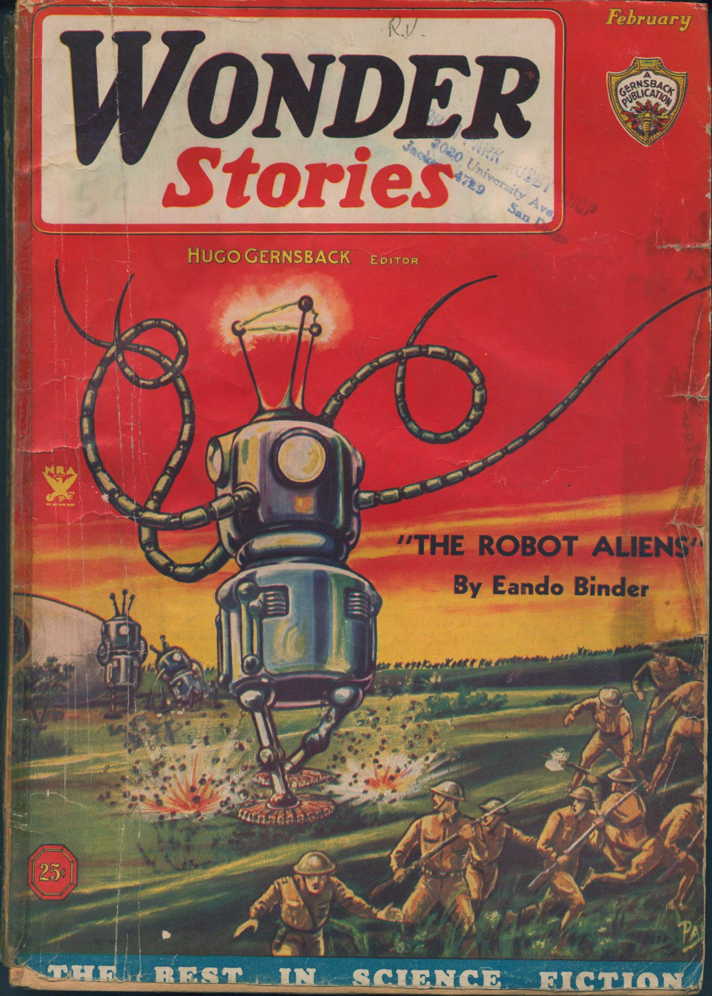 Cover of Wonder Stories, vol 6 no 9, shows soldiers in World War I era uniforms fleeing giant robots.