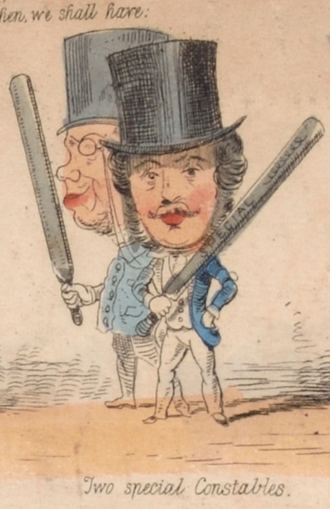 "Drawing of two men in top hats, carrying truncheons. Caption: ""Two special constables."""