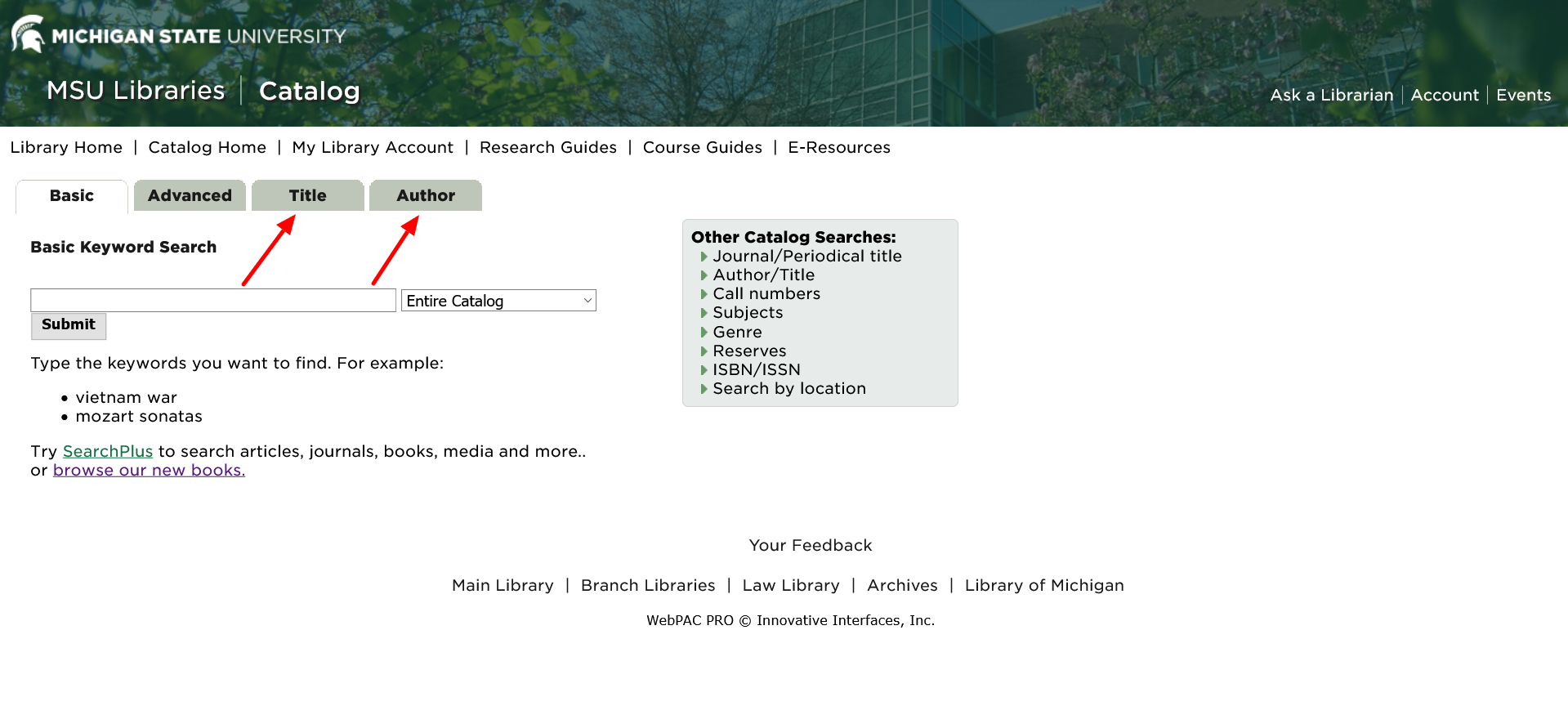 Title and author searching in the MSU Library catalog