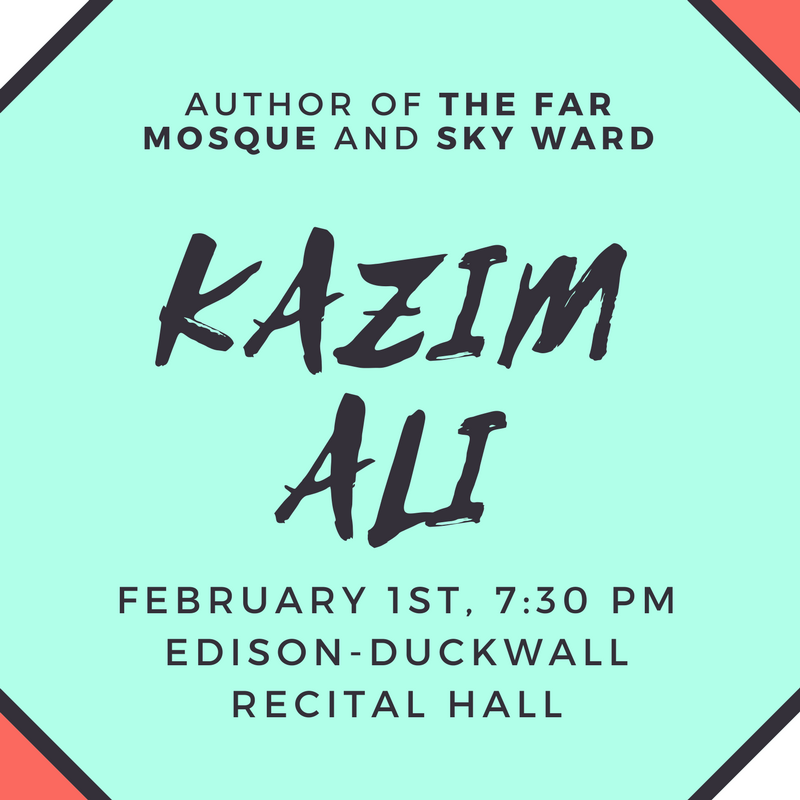 Kazim Ali, author of The Far Mosque and Sky Ward will be at the Edison-Duckwall Recital Hall on February 1st at 7:30 PM
