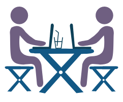 Icon image of two people working together on laptops