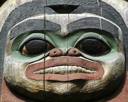 Wooden totem head
