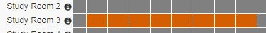 Grey = available     Orange = booked