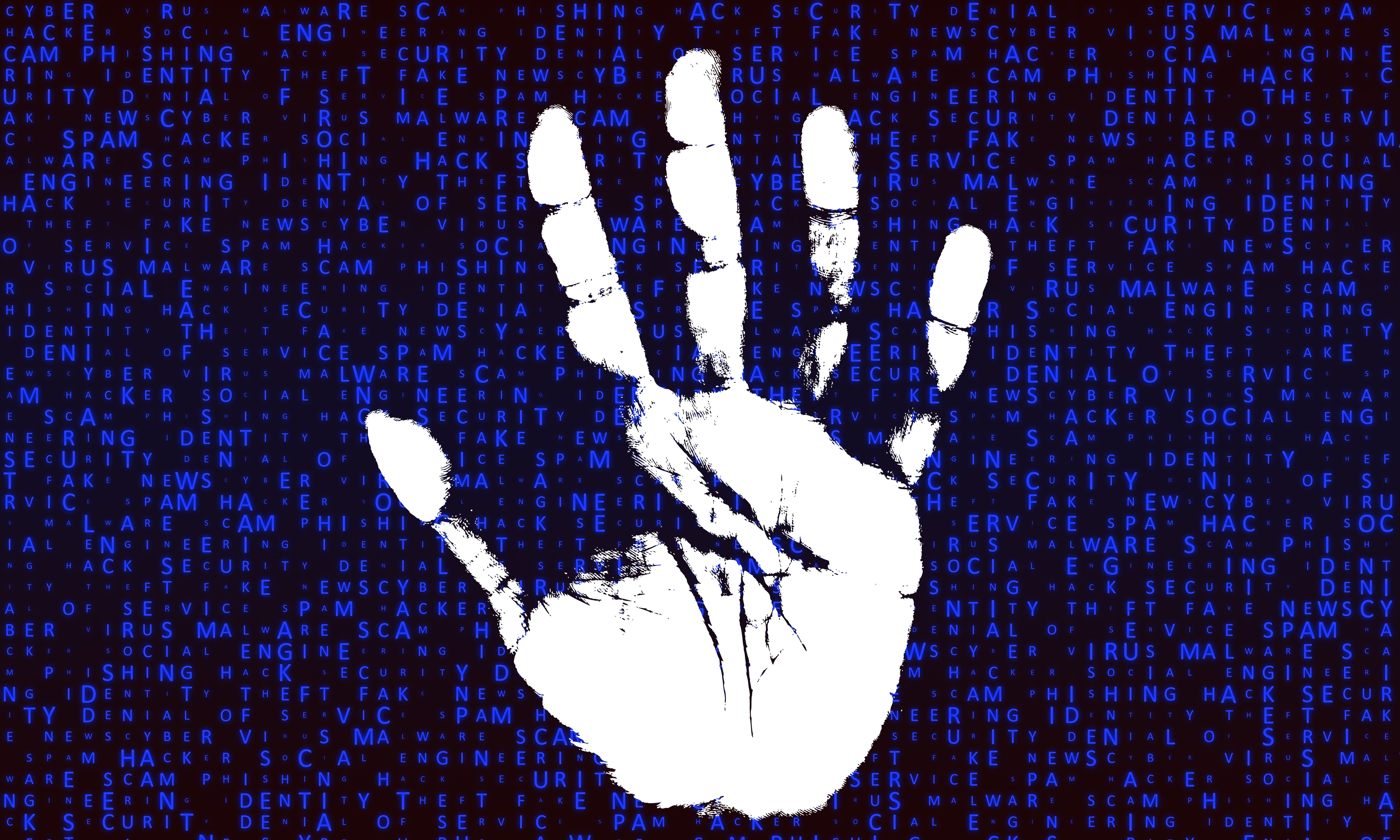 Identity theft image of hand and computer code