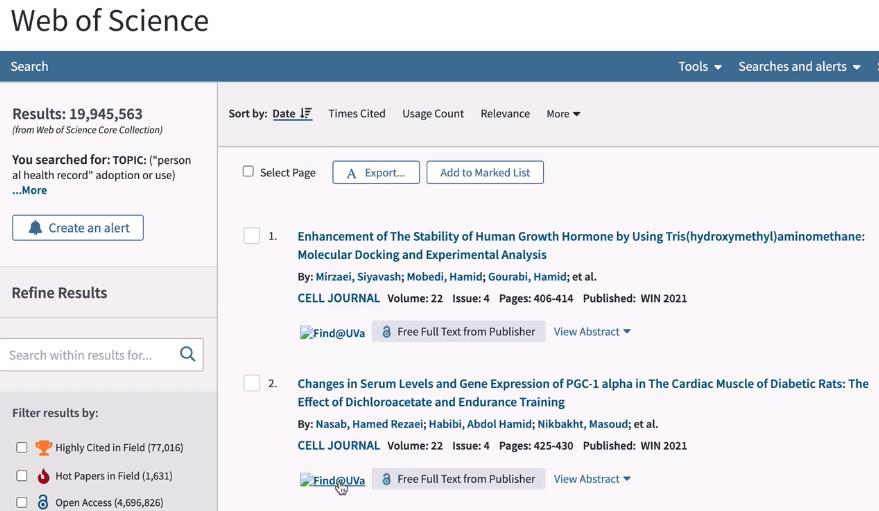 """Screenshot of the databases Web of Science with the cursor over the blue text of the """"Find@UVA"""" button."""