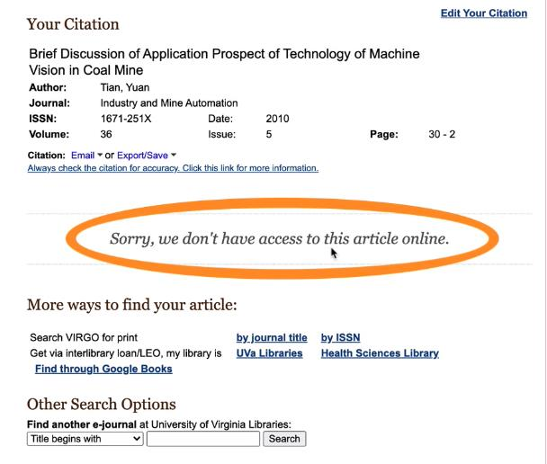 Screenshot of an article citation page that the UVA Library doesn't have access to with a circle around 'Sorry, we don't have access to this article online.'