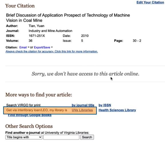 Screenshot of an article citation page that the UVA Library doesn't have access to with a highlight around the text and link for 'Get via interlibrary loan/LEO, my library is UVA LIbraries'
