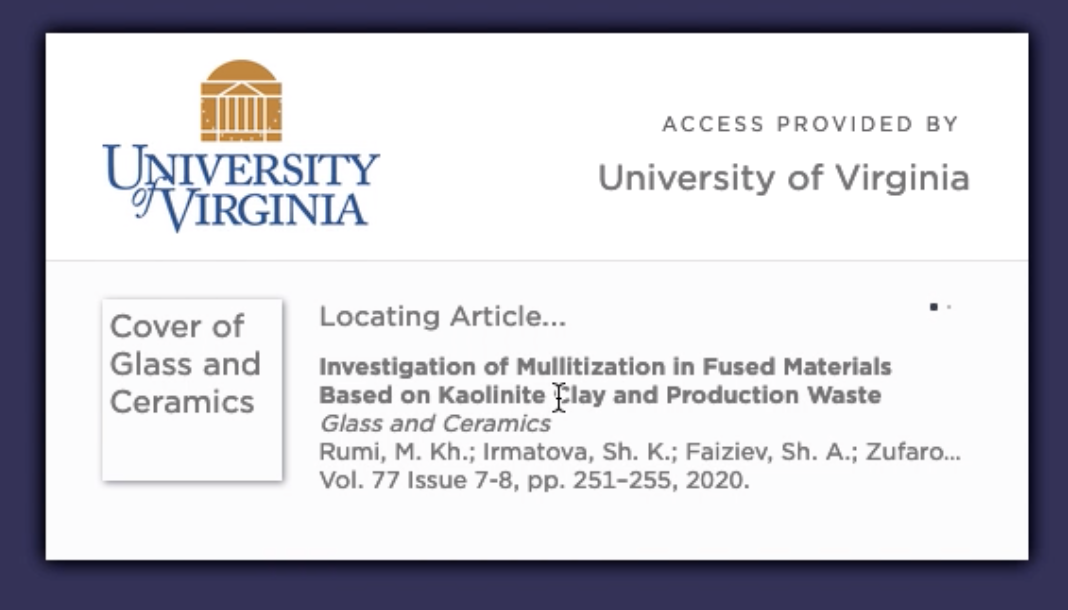 Locating article... access provided by University of Virginia Library