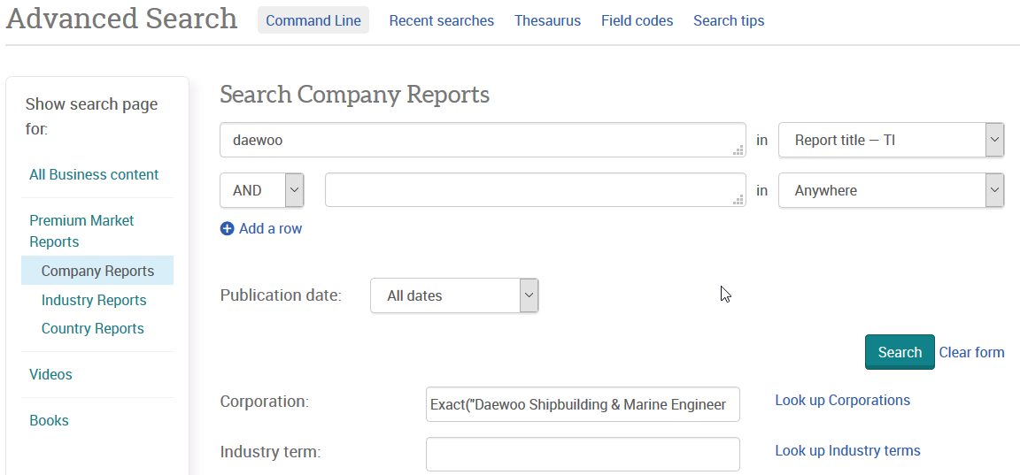 Advanced Search: Company reports - search via title field or corporation field