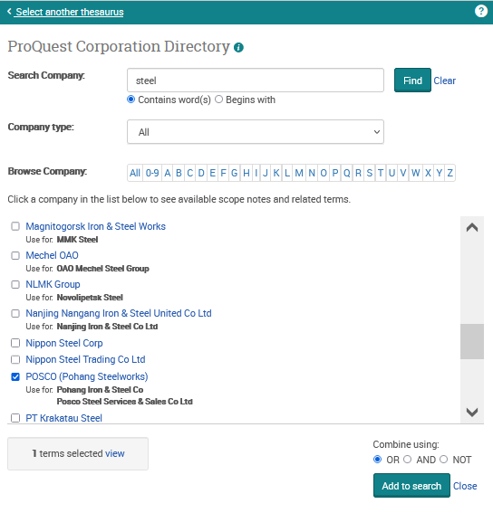 ProQuest Corporation Directory: searching for steel