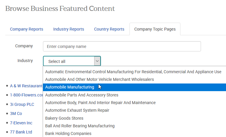 Company Topic Pages browse industry