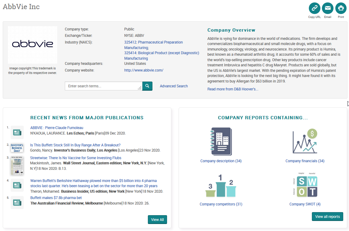 Company Topic Page - example (top half)