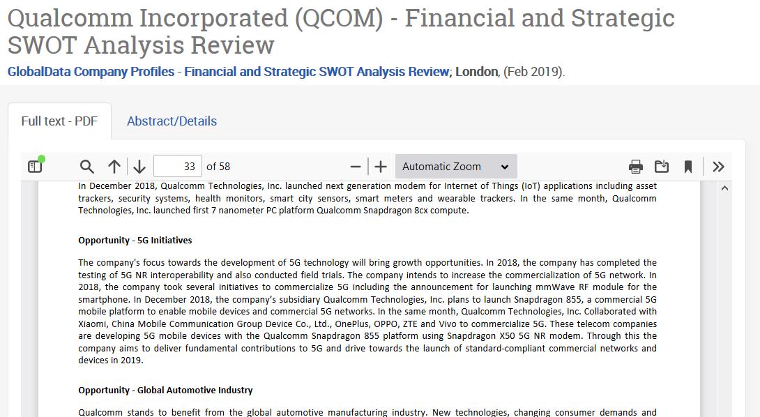 PQ1B GlobalData SWOT analysis report detail