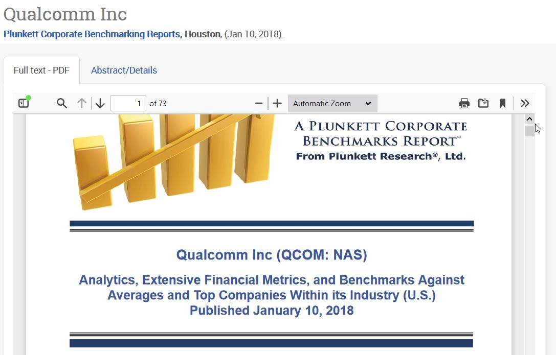 PQ1B Plunkett Benchmark report