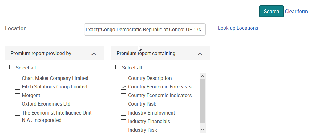 Country Reports Advanced Search: report content