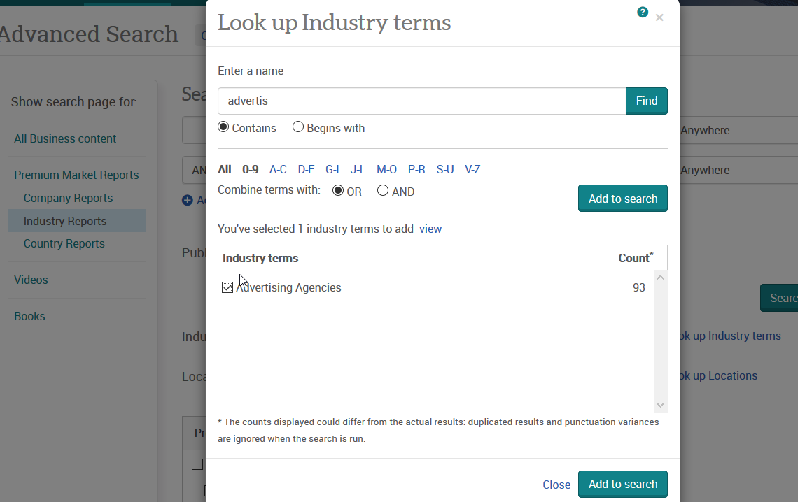 "Advanced Search for Industry Reports: Using ""Look up industry terms"""