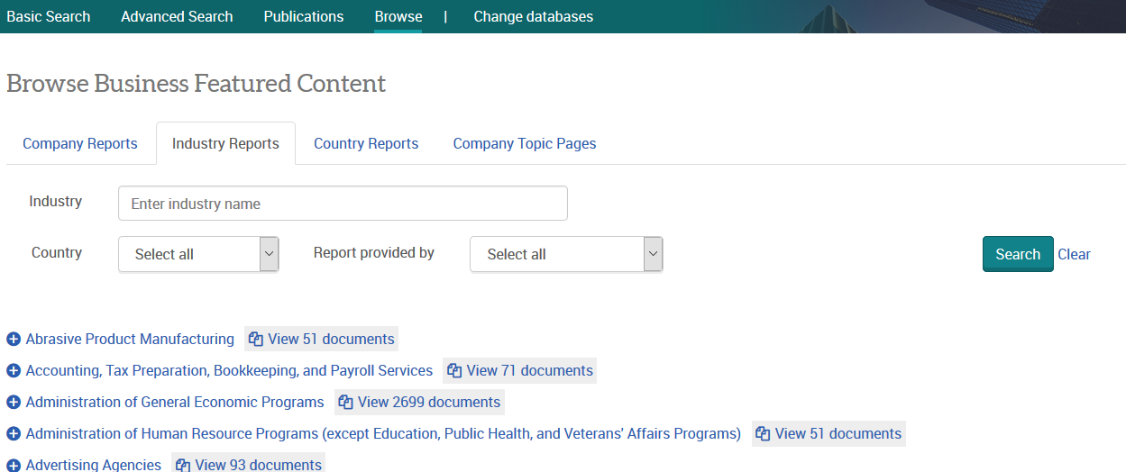 Browse Industry Reports