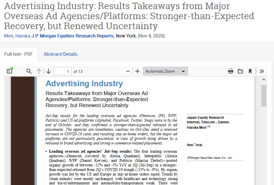 Example of an industry report from J.P. Morgan