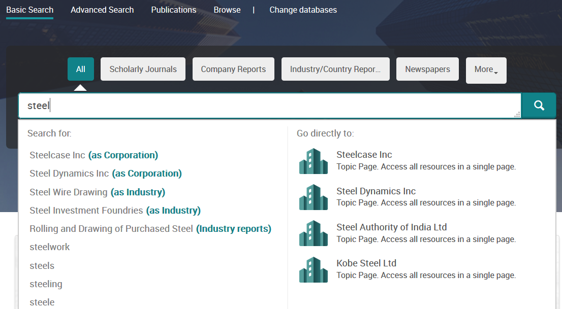 ProQuest One Business autosuggestion all options