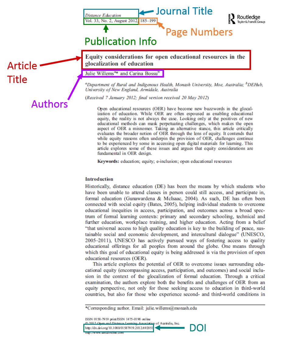 First page of article with highlighted citation elements