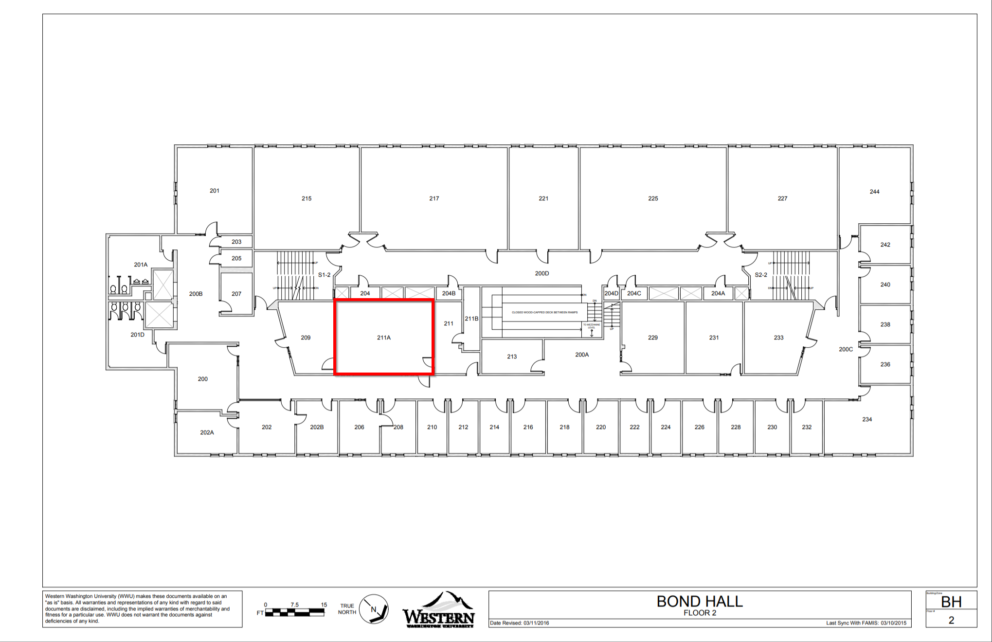 Bond Hall second floor map
