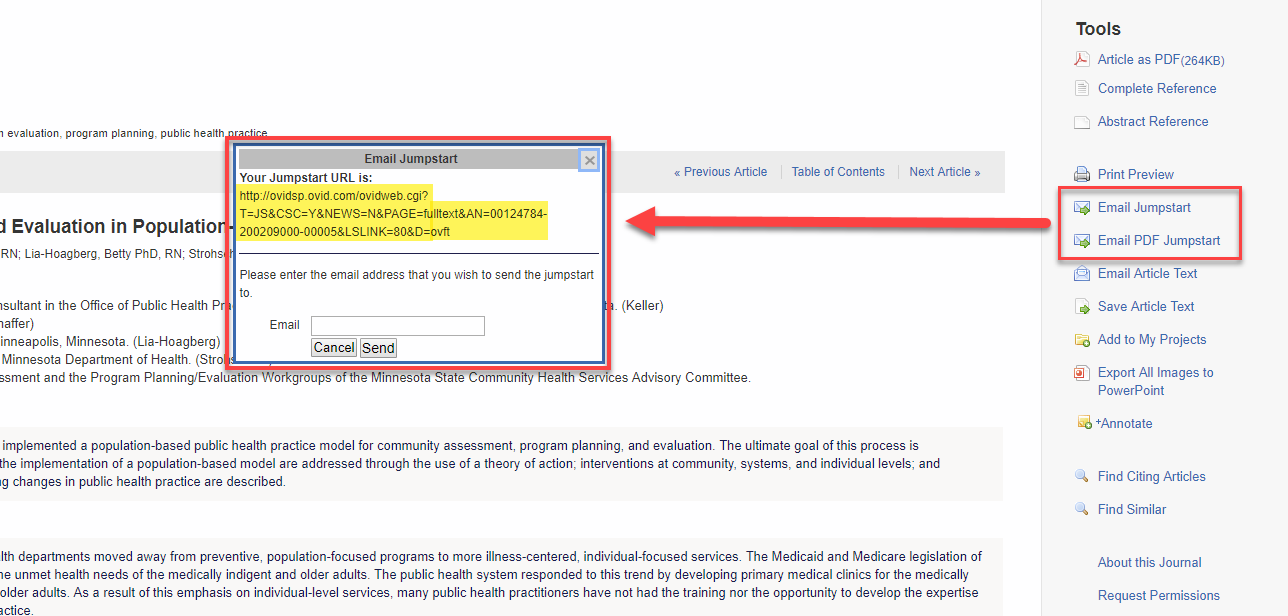 "Screenshot of the same Ovid article with ""Email Jumpstart"" and ""Email PDF Jumpstart"" highlighted, and an arrow linking the two highlighted options to a pop up window that indicates ""Your Jumpstart URL is"" with a URL for the article, and an option to enter an email address to send the jumpstart"
