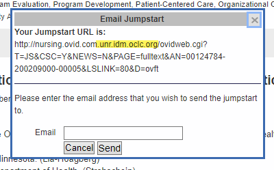 Screenshot of the same Email Jumpstart pop up window, with a Jumpstart URL, and our proxy address highlighted within the URL