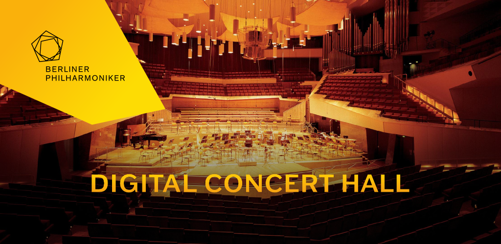 The Berliner Phiharmoniker Digital Concert Hall database banner logo superimposed onto an orchestra performance.