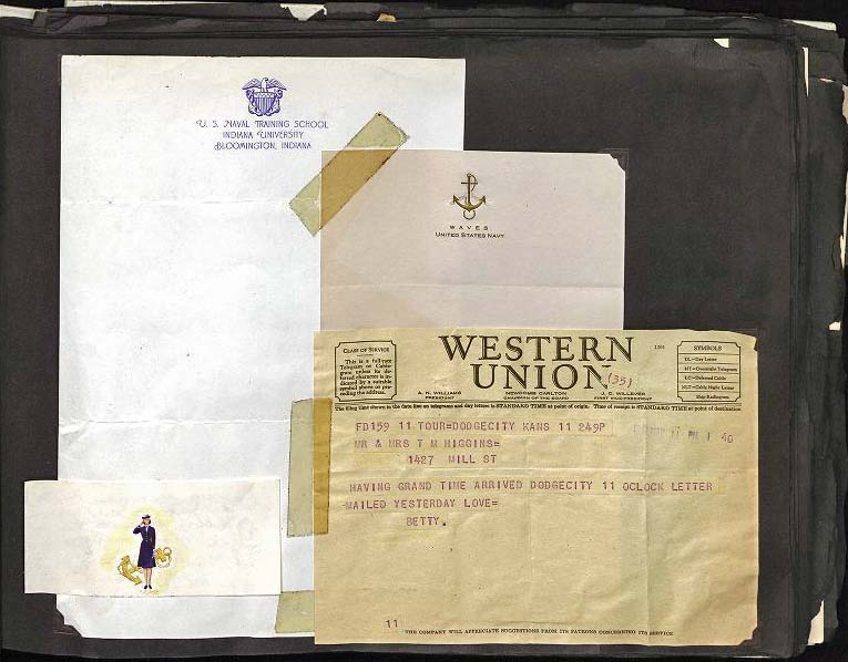 Telegram announcing arrival in Dodge City, WAVES logo, training school stationery